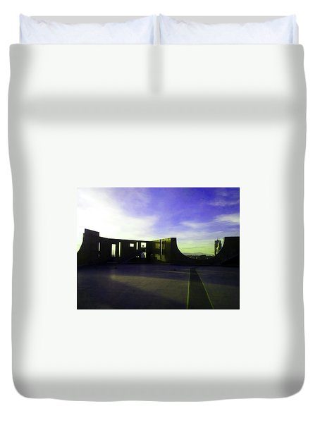 Duvet Cover featuring the photograph Denver Art Museum Deck 1 by Marilyn Hunt