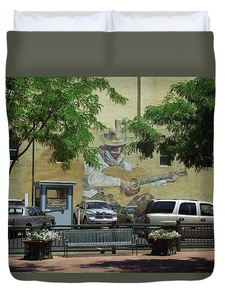Duvet Cover featuring the photograph Denver Cowboy Parking by Frank Romeo
