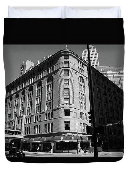Denver Downtown Bw Duvet Cover by Frank Romeo