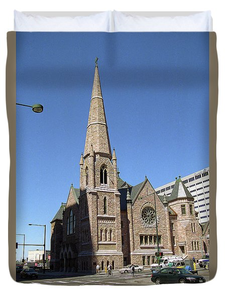 Duvet Cover featuring the photograph Denver Downtown Church by Frank Romeo