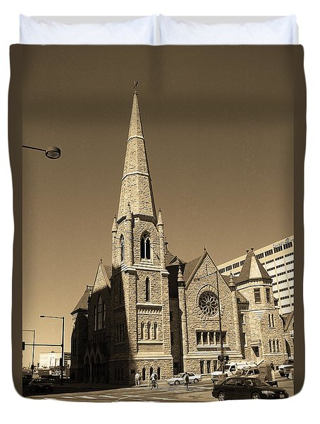 Duvet Cover featuring the photograph Denver Downtown Church Sepia by Frank Romeo