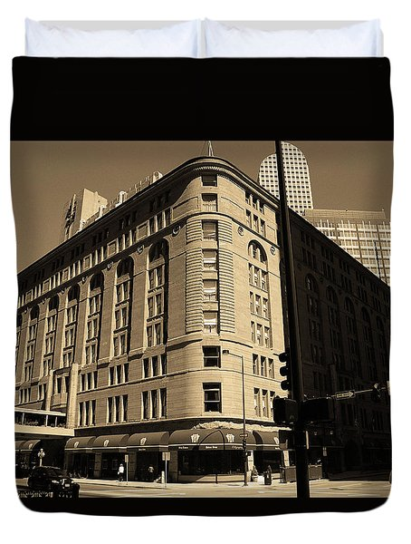 Duvet Cover featuring the photograph Denver Downtown Sepia by Frank Romeo