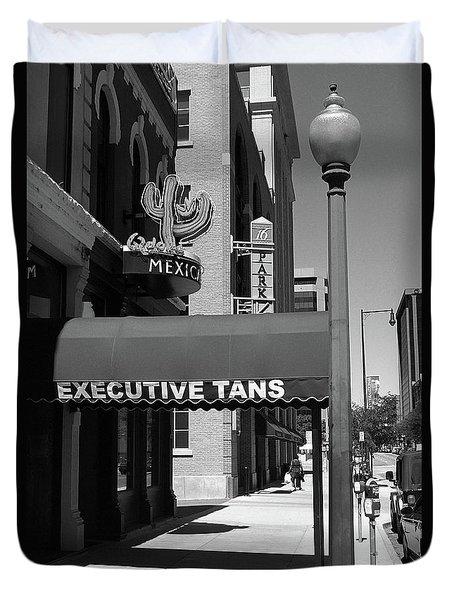 Denver Downtown Storefront Bw Duvet Cover by Frank Romeo