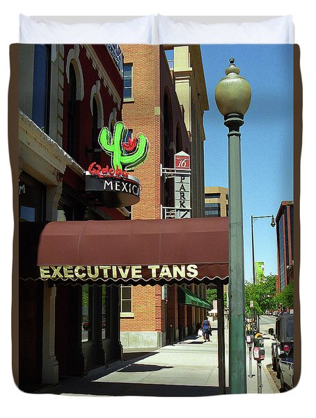 Duvet Cover featuring the photograph Denver Downtown Storefront by Frank Romeo