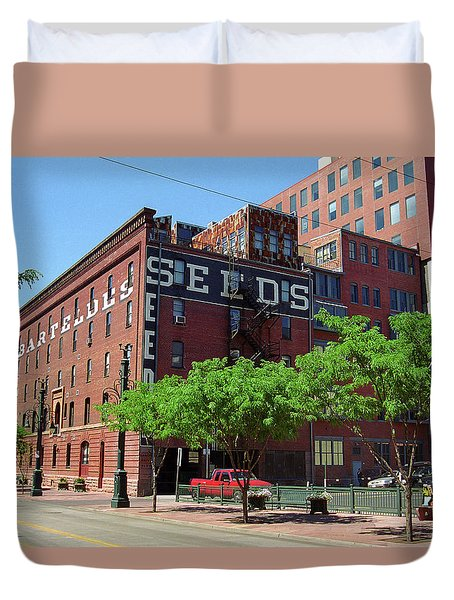 Duvet Cover featuring the photograph Denver Downtown Warehouse by Frank Romeo