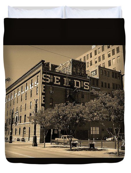 Duvet Cover featuring the photograph Denver Downtown Warehouse Sepia by Frank Romeo