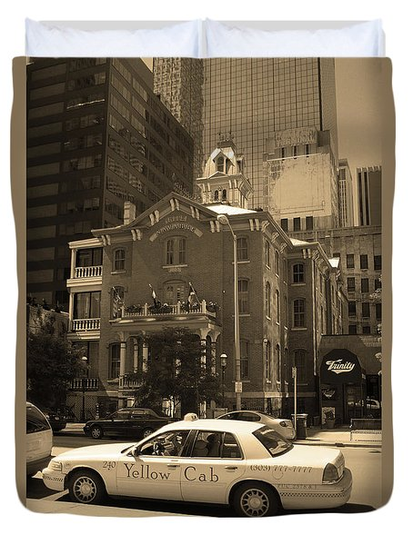 Duvet Cover featuring the photograph Denver Downtown With Yellow Cab Sepia by Frank Romeo