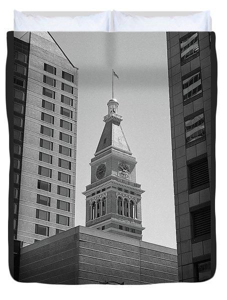 Denver - Historic D And F Clocktower 2 Bw Duvet Cover by Frank Romeo