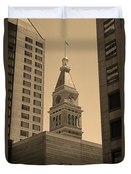 Duvet Cover featuring the photograph Denver - Historic D F Clocktower 2 Sepia by Frank Romeo