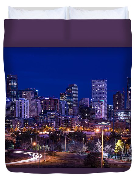 Denver Skyline At Night - Colorado Duvet Cover