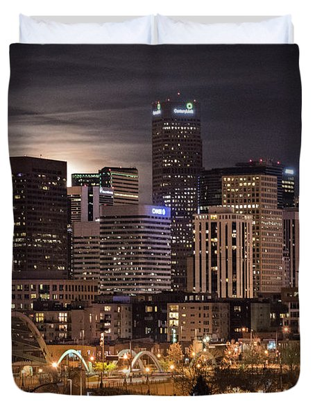 Denver Skyline At Night Duvet Cover