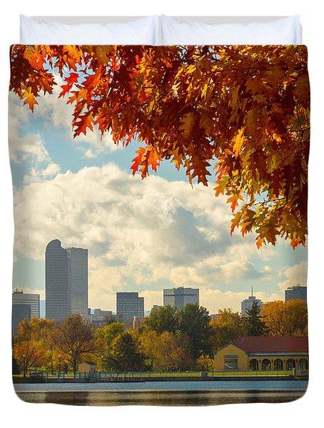 Denver Skyline Fall Foliage View Duvet Cover