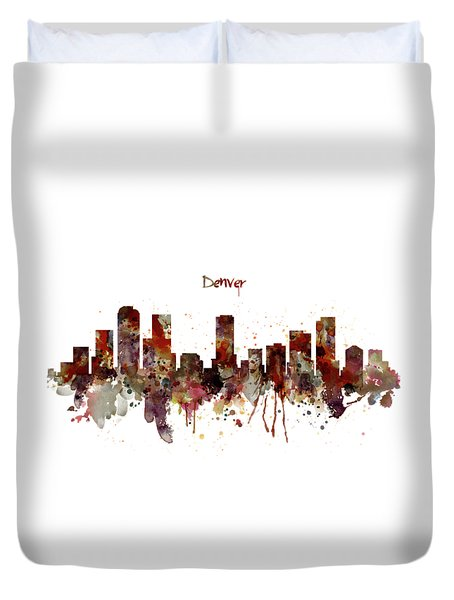 Duvet Cover featuring the mixed media Denver Skyline Silhouette by Marian Voicu