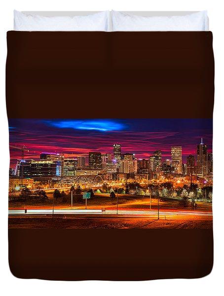 Denver Skyline Sunrise Duvet Cover