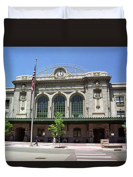 Duvet Cover featuring the photograph Denver - Union Station Film by Frank Romeo