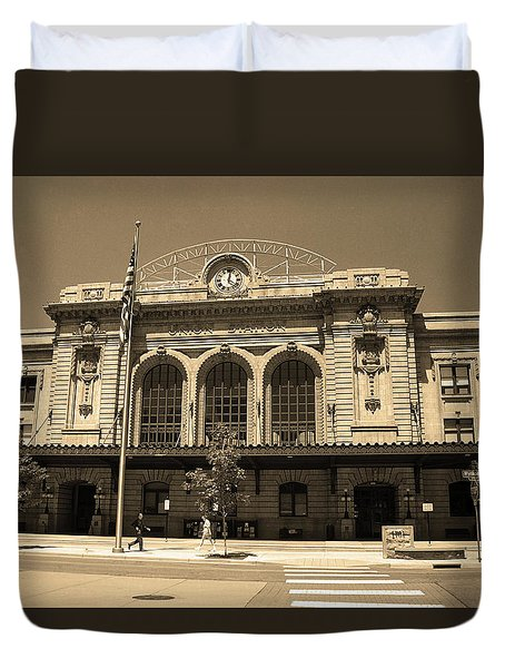Duvet Cover featuring the photograph Denver - Union Station Sepia 5 by Frank Romeo