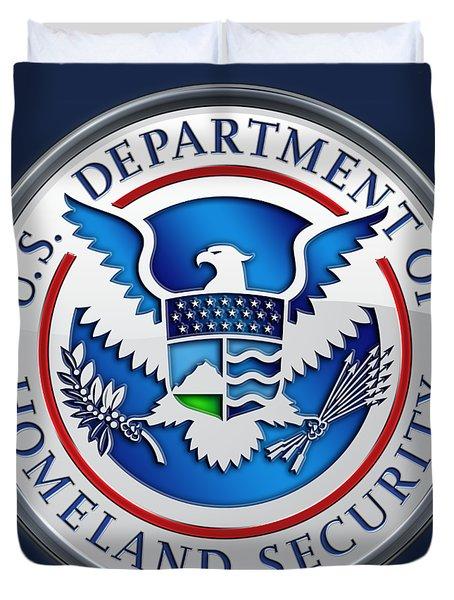 Department Of Homeland Security - D H S Emblem On Blue Velvet Duvet Cover