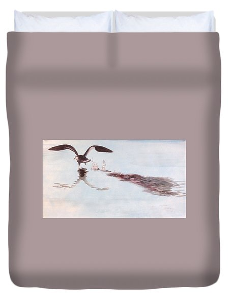Duvet Cover featuring the painting Departure by Stan Tenney