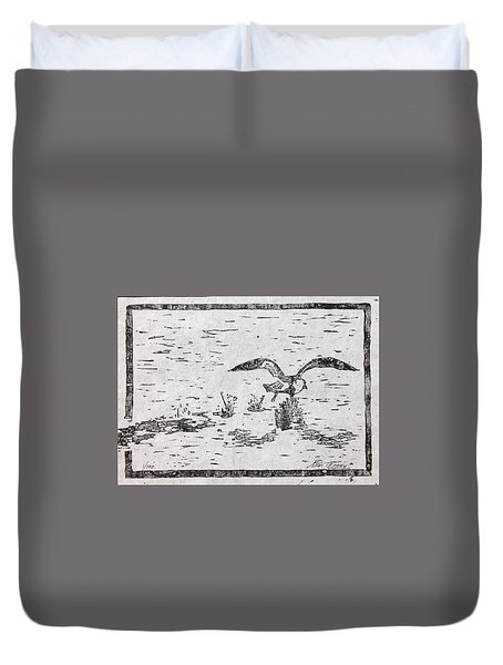 Duvet Cover featuring the painting Departure Woodcut  by Stan Tenney