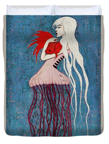 Duvet Cover featuring the mixed media Depths Of Love by Natalie Briney