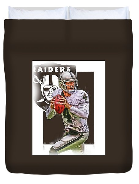 Derek Carr Oakland Raiders Oil Art Duvet Cover