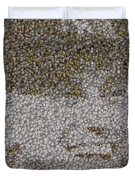 Duvet Cover featuring the mixed media Derek Jeter Baseballs Mosaic by Paul Van Scott