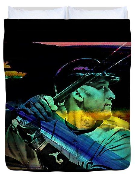 Derek Jeter Duvet Cover by Marvin Blaine