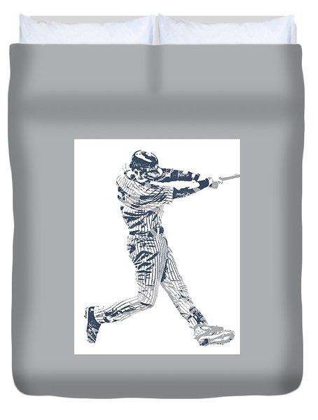 Derek Jeter New York Yankees Pixel Art 10 Duvet Cover