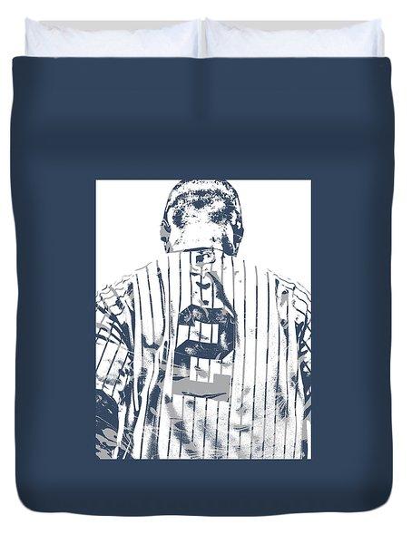 Derek Jeter New York Yankees Pixel Art 11 Duvet Cover