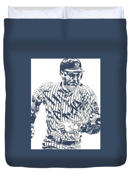 Derek Jeter New York Yankees Pixel Art 12 Duvet Cover