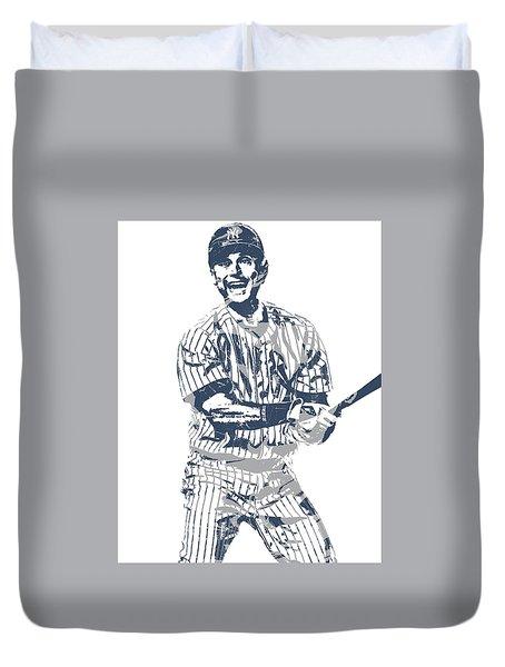 Derek Jeter New York Yankees Pixel Art 13 Duvet Cover