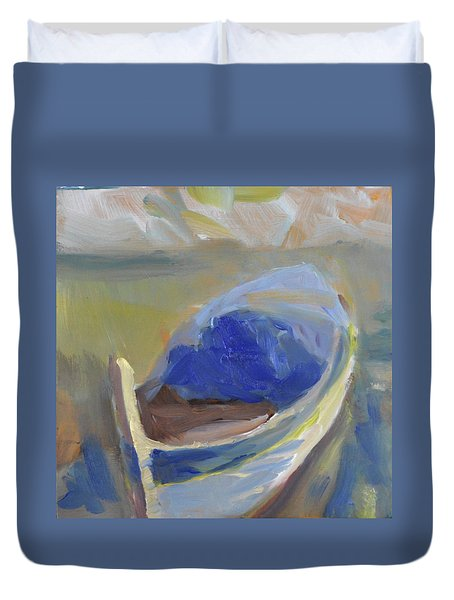 Duvet Cover featuring the painting Derek's Boat. by Julie Todd-Cundiff