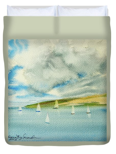 Dark Clouds Threaten Derwent River Sailing Fleet Duvet Cover