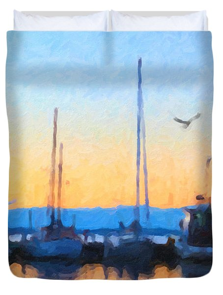 Duvet Cover featuring the painting Derwent River Sunset by Chris Armytage