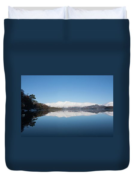 Derwentwater Winter Reflection Duvet Cover