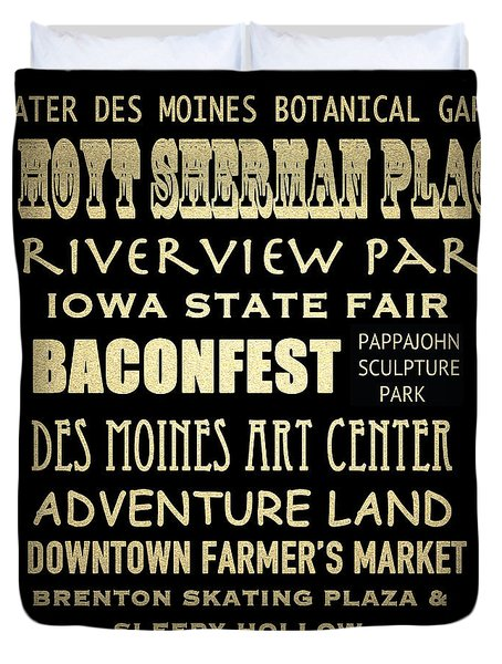 Des Moines Famous Landmarks Duvet Cover