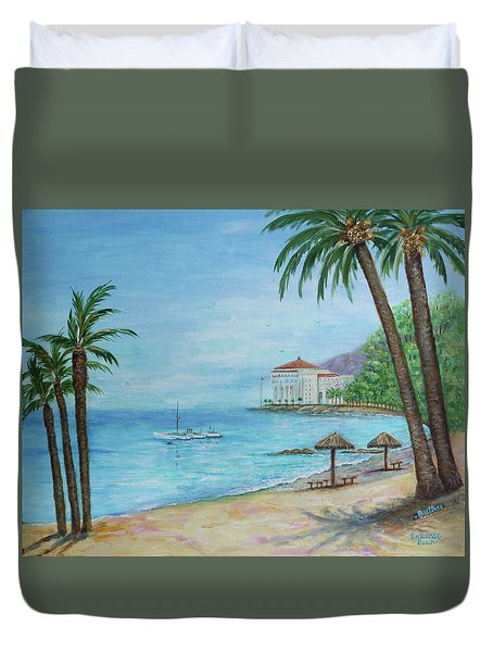 Duvet Cover featuring the painting Descanso Beach, Catalina by Lynn Buettner