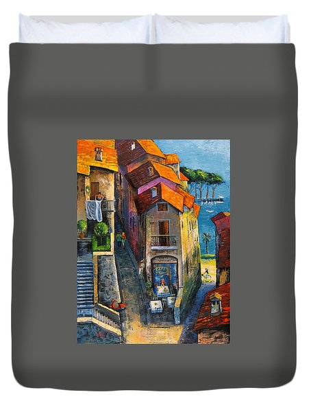 Duvet Cover featuring the painting Desenzano Del Garda by Mikhail Zarovny