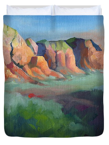 Desert Afternoon Mountains Sky And Trees Duvet Cover