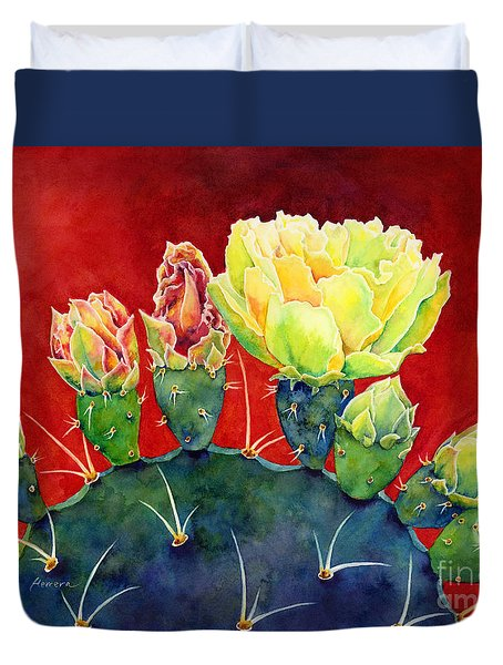 Duvet Cover featuring the painting Desert Bloom 3 by Hailey E Herrera