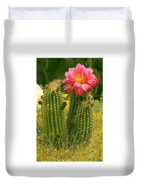 Duvet Cover featuring the photograph Desert Bloom by R Thomas Berner