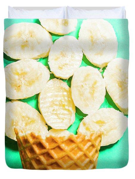 Dessert Concept Of Ice-cream Cone And Banana Slices Duvet Cover