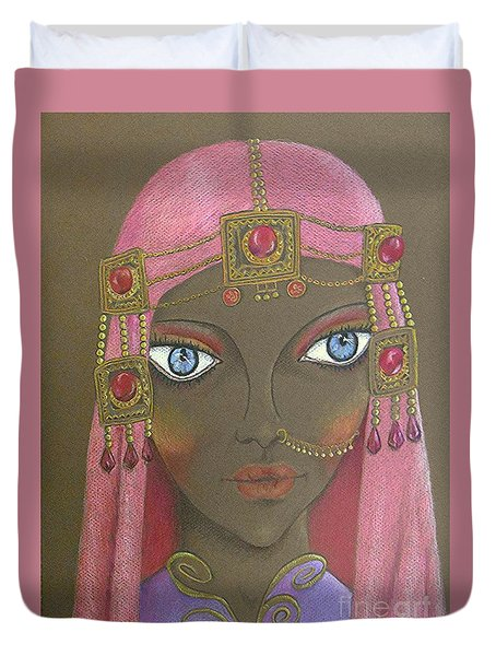Desert Diva -- Whimsical Arabic Woman Duvet Cover