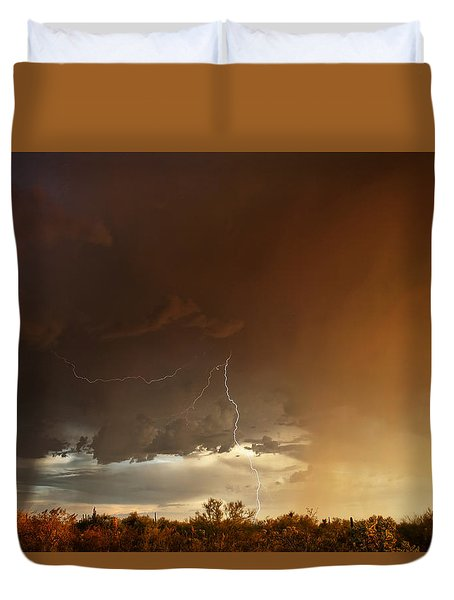 Duvet Cover featuring the photograph Desert Fire by James Menzies