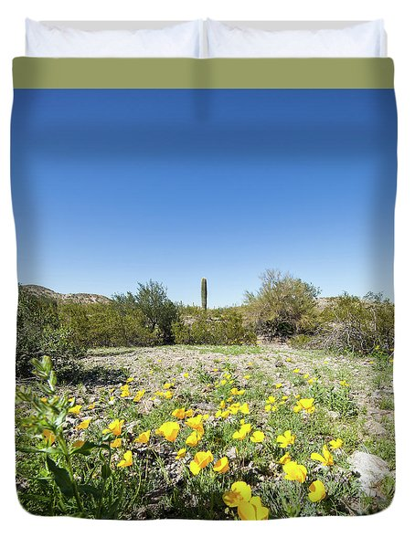 Duvet Cover featuring the photograph Desert Flowers And Cactus by Ed Cilley