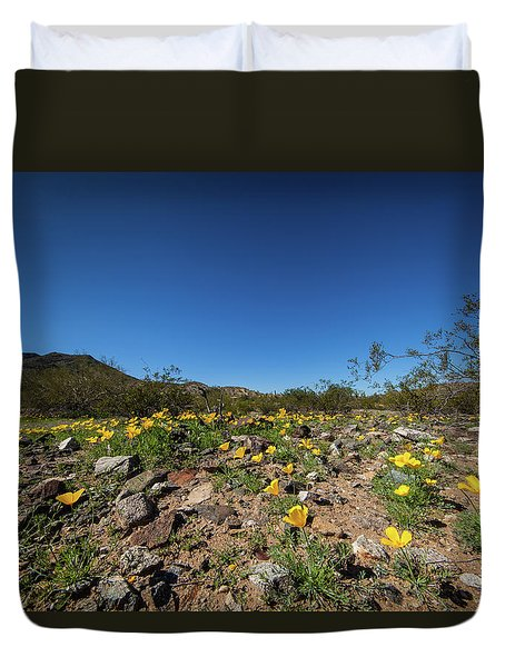 Duvet Cover featuring the photograph Desert Flowers In Spring by Ed Cilley