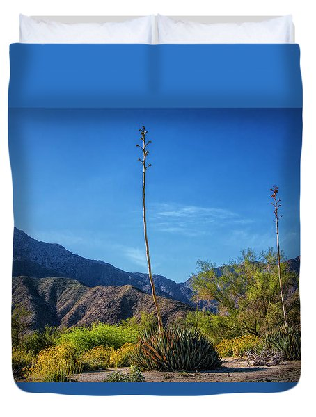 Duvet Cover featuring the photograph Desert Flowers In The Anza-borrego Desert State Park by Randall Nyhof