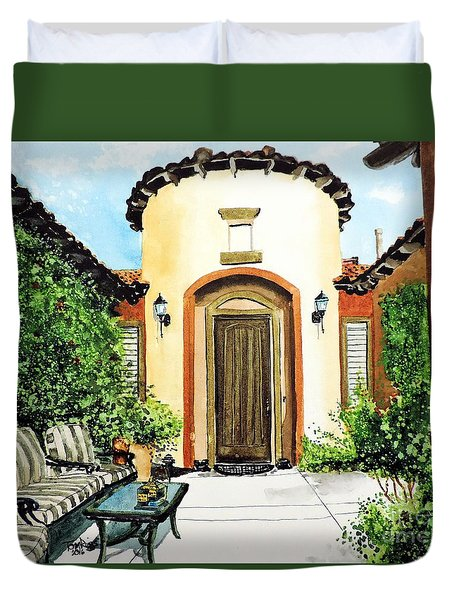 Duvet Cover featuring the painting Desert Getaway by Tom Riggs