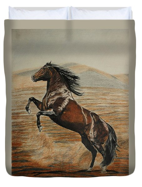 Duvet Cover featuring the drawing Desert Horse by Melita Safran