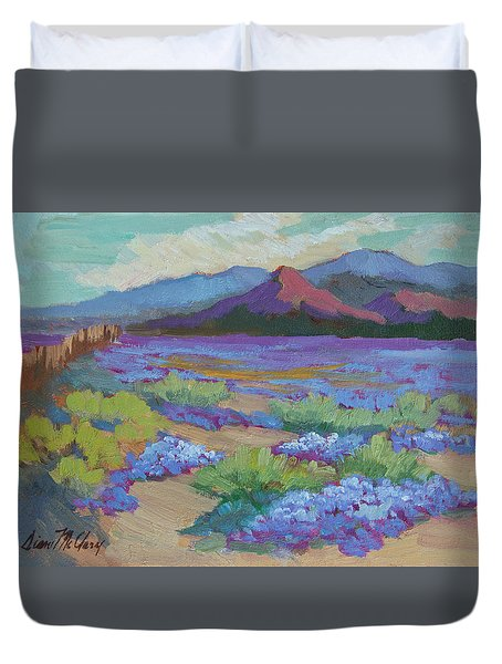 Duvet Cover featuring the painting Desert In Bloom by Diane McClary